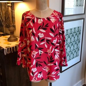 Talbots Crepe Flounce-Sleeve Popover Top